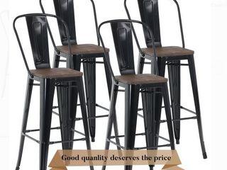 MF Studio Vintage Set of 4 Industrial Styled Bar Stools  Glossy Black