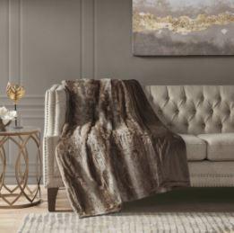 Marselle Oversized Faux Fur Throw Blanket Tan  60 x70
