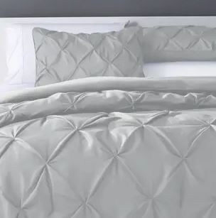 Kotter Home Pinch Pleat Pintuck Comforter Set  Cal King  light Grey Retail 129 99