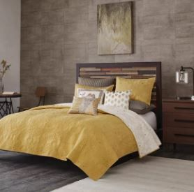 INK IVY Kandula Yellow Cotton Reversible 3 piece Coverlet Set  Full Queen  Retail 104 89