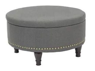 Copper Grove Strawflower Storage Ottoman with Nailheads  Charcoal   Retail 205 99