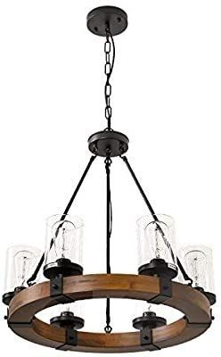 6 light Farmhouse Wood Kitchen Island  Wood Chandeliers  Candle Pendant light  Clear Glass lodge and Tavern Pendant lighting 360W Max  Bulb Not Included