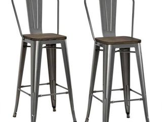 DHP luxor 30  Metal Bar Stool with Wood Seat  Set of 2  Various Colors