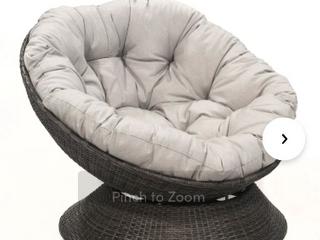Indoor Wicker Swivel lounge Chair   Grey  No Cushion  No Hardware