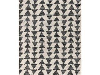JONATHAN Y Aisha Moroccan Triangle Geometric Cream Black 5 ft  x 8 ft  Area Rug
