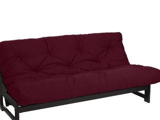Moza Full Size 6  Boxed Burgundy Duck Futon   mattress only