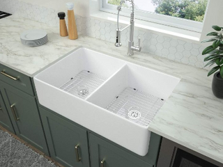 logmey 32  Apron Front Double Bowl Ceramic Fireclay Kitchen Sink