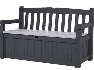 Keter 70 Gallon Storage Bench All Weather    black an Grey   slightl damaged