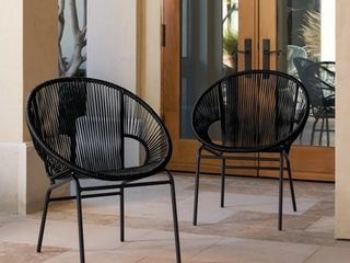 Corvus Sarcelles Woven Wicker Patio Chairs  Set of 2  Retail 249 99
