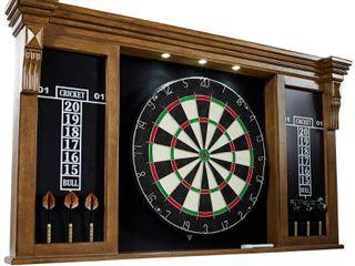 Barrington Woodhaven Premium Bristle Dartboard Cabinet set with lED lights  Brown Black