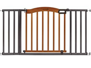 Summer Decorative Wood   Metal Safety Baby Gate   New Zealand Pine Wood   a Slate Metal Finish   32  Tall