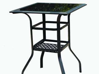 4 Person Steel Square Dining Table with Storage Shelf Compartment