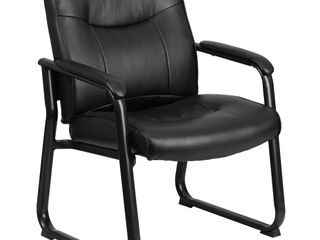 Flash Furniture HERCUlES Series Big   Tall 500 lb  Rated Black leatherSoft Executive Side Reception Chair with Sled Base
