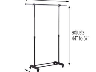 Adjustable Garment Rack with Extendable Bar  Black Chrome