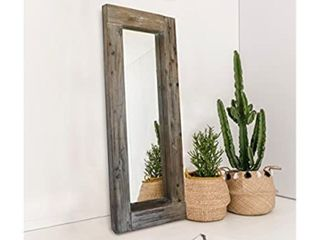 Barnyard Designs long Decorative Wall Mirror 5  X 24  Rustic Wood Frame Retail   218 95