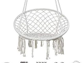 YRYM HT Macrame Swing Hammock Chair   Macrame Hanging Chair with Durable Hanging Hardware Kit  Indoor   Outdoor Macrame Swing Chairs for Bedrooms  Patio  Porch  Deck  Yard  Garden