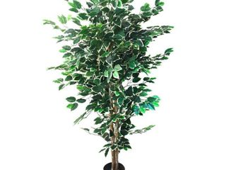 Pure Garden 5 Foot Tall Topiary Artificial Tree with Variegated leaves and Natural Trunk  Green