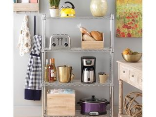 Whitmor Supreme 4 Tier Shelving with Adjustable Shelves and leveling Feet   Chrome   14  x 36  x 54