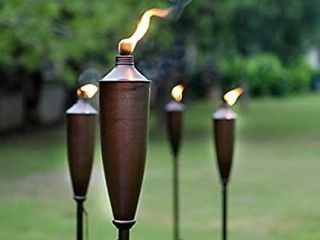 Tikki Torch   Deco Home Set of 2 Tikki Torch   60inch Citronella Garden Outdoor Patio Flame Metal Torch   Brown