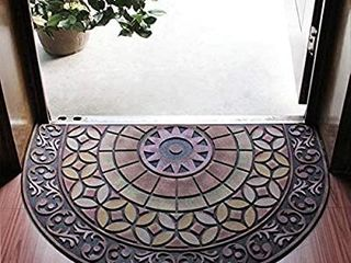 Half Round Entrance Door Mat Non Slip Door Mat Hand Stenciled Entrance Rug Indoor Outdoor Door Shoe Scraper Entryway Easy Clean Entry Way Welcome Doormat  Floor Mat  Rug for Patio  Front Door  05