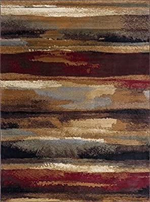 Dakota Contemporary Abstract Multi Color Rectangle Area Rug  5  x 7