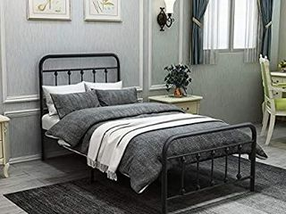 DUMEE Metal Bed Frame Twin Size Platform with Vintage Headboard and Footboard Sturdy Premium Steel Slat Support Textured Black