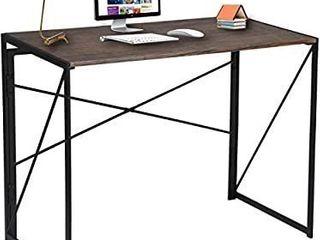 Writing Computer Desk Modern Simple Study Desk Industrial Style Folding laptop Table for Home Office Notebook Desk Brown Desktop Black Frame