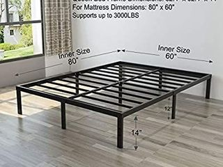 Heavy Duty Queen Platform Bed Frame NOAH MEGATRON Slatted Bed Base 14 Inch Mattress Foundation Bed Frame 12 Inch Under Bed Storage No Box Spring Needed