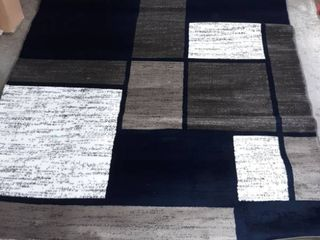 Contemporary Modern Boxes Navy 5 3  x 7 3  Indoor Area Rug