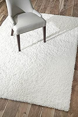 nulOOM Marleen Contemporary Shag Area Rug  5  3  x 7  6  White
