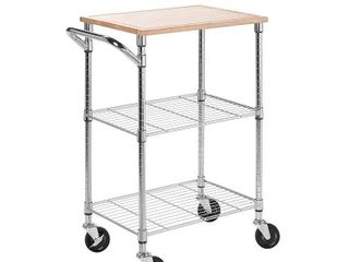 Honey Can Do Urban 2 Tier Rolling Cart with Rubberwood Top  Chrome Natural Retail   337 88