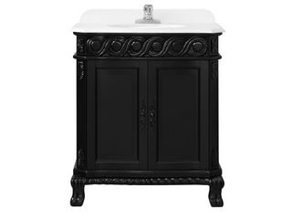 Ove TRENT 60 Trent 60 Inch Vanity in Antique Black with Engineered White Marble Vanity Top and White Basin