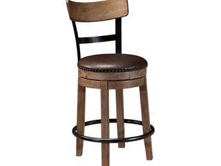 Signature Design By Ashley   Pinnadel Upholstered Swivel Barstool   Casual Style   Grayish Brown