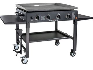 36  Propane Gas Griddle Cooking Station   4 Burner  Side Shelves  Steel Burners
