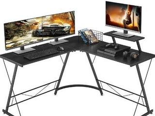 Mr IRONSTONE l Shaped Desk 50 8  Computer Corner Desk  Home Gaming Desk  Office Writing Workstation with large Monitor Stand  Space Saving  Easy to Assemble in white marble