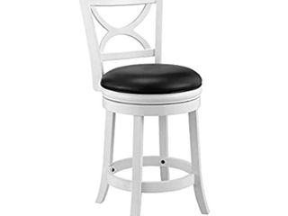 Ball   Cast Bar Height Swivel Stool  24 Inch 1 Pack  White