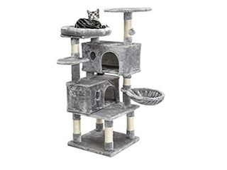 SUPERJARE Cat Tree Condo Furniture with Scratching Posts  Plush Cozy Perch and Dangling Balls  Multi level Kitten Tower