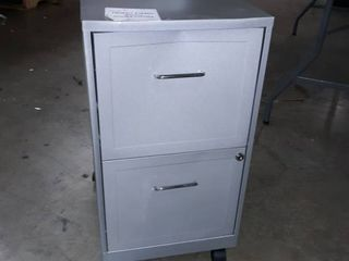 Gray rolling 2 drawer file cabinet