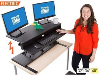 FlexPro Power Electric Standing Desk Electric Height Adjustable Stand up Desk By Award Winning Stand Steady  Holds 2 Monitors   laptop  Easy Quiet Adjustments   Black   40