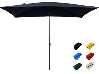 KITADIN Rectangular Patio Umbrella   Outdoor Market Table Umbrellas with Push Button Tilt and Crank lift 6 Sturdy Square Ribs  6 6 X 10 Ft  Navy