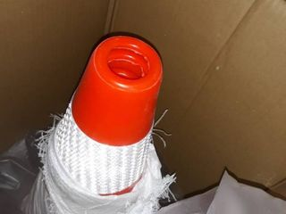 Box of eight traffic safety cones