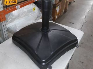 Umbrella stand with wheels and braking system