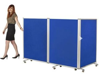 3 Panel Mobile Double Sided Flannel Room Divider   Blue by ECR4Kids