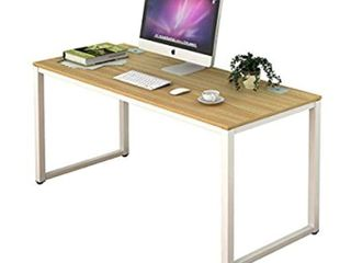 Shw Home Office 55 inch large Computer Desk White Frame W oak Top