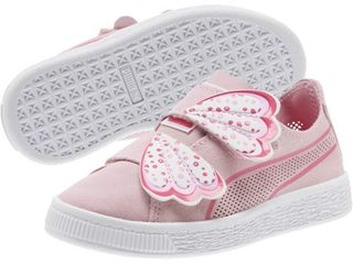 Puma Kids Suede Deconstruct Butterfly V  little Kid   Pale Pink Fuchsia Purple Puma White  Girls Shoes