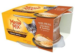 Box of Meow Mix Simple Servings Wet Cat Food with Real Chicken and Turkey in Gravy  1 3 Ounce  2 Cups