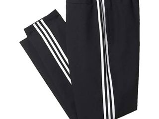 adidas Big Tall Essential 3 Stripe Woven Open Hem Pants  Black White  Men s Casual Pants