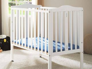 Delta Children Folding Portable Mini Crib with Mattress White