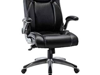 Multifunctional Office Chair   Adjustable Built in lumbar Support  Flip Up Arms and Tilt Angle Executive Computer Desk Task Swivel Chair  Black Retail   179