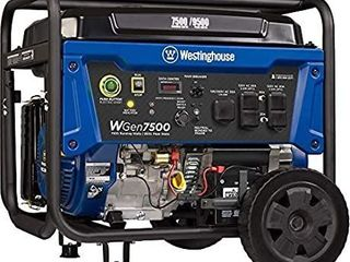 Westinghouse WGen7500DF Dual Fuel Portable Generator   7500 Rated Watts   9500 Peak Watts   Gas or Propane Powered   CARB Compliant Retail   838 67